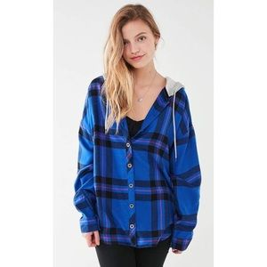 NWT BDG Darcy Plaid Flannel Hooded Button Shirt